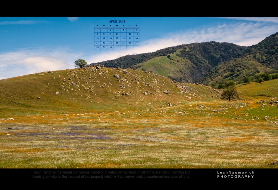 April 2013 Calendar desktop Tejon Ranch - Lech Naumovich Photography 3
