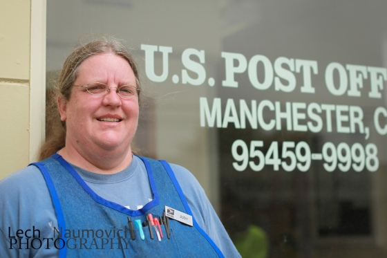 Judy - Post Office czar in Manchester. She's a huge supporter of riders sometimes offers up her place on warmshowers.org to travelers needing a place to stay.