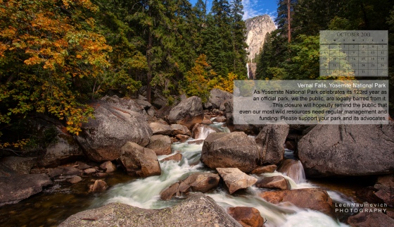 October 2013 Calendar desktop Yosemite - Park Access - Lech Naumovich Photography