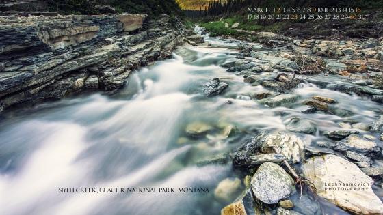 March 2014 Desktop Calendar Siyeh Creek - Lech Naumovich Photography
